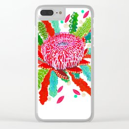Abstract Waratah Clear iPhone Case