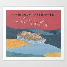 A Drifting Boat Art Print