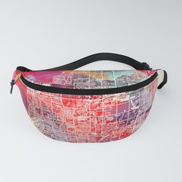 Pompano Beach map Florida painting 2 Fanny Pack