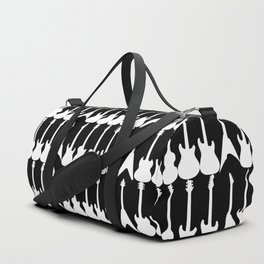 Guitar Silhouettes White on Black Pattern Duffle Bag