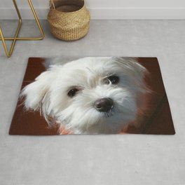 Cute Maltese asking for a treat Rug