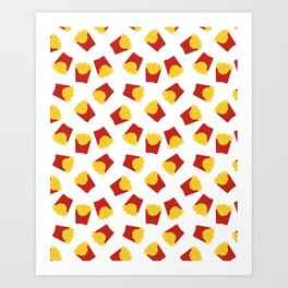 FRENCH FRIES POMMES FAST FOOD PATTERN Art Print
