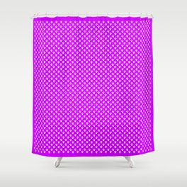 Tiny Paw Prints Pattern - Bright Magenta and White Shower Curtain