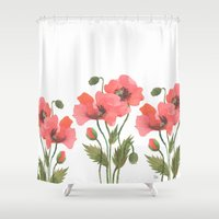 poppies Shower Curtains featuring POPPIES by Oana Befort