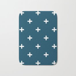 White Crosses on Deep Teal Bath Mat