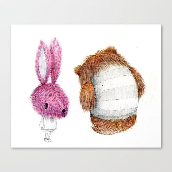 El conejo y el oso Canvas Print