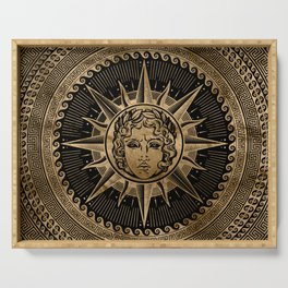 Golden Apollo Sun God on Greek Key Ornament Serving Tray