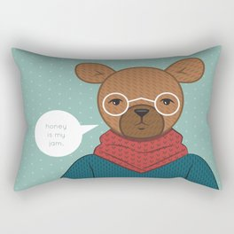 """Honey is my Jam"" Hipster Bear Rectangular Pillow"