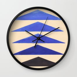 Colorful Blue Geometric Triangle Pattern With Black Accent Wall Clock