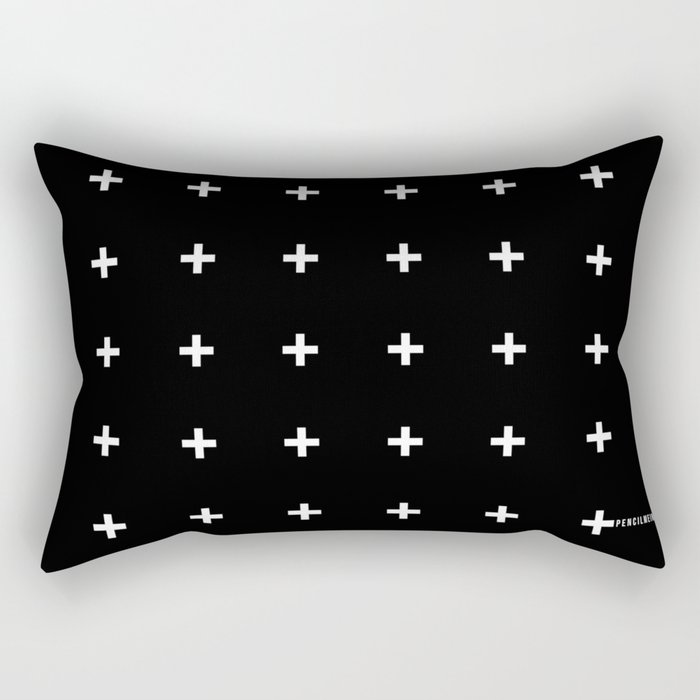 White Plus on Black /// pencilmeinstationery.com Rectangular Pillow