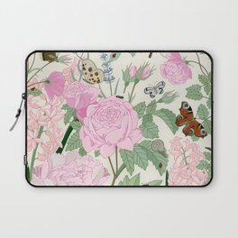 Pink flowers and butterflies Laptop Sleeve