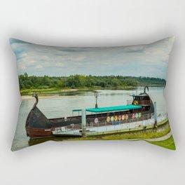 Ship on the river Wisła Rectangular Pillow