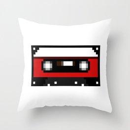 Red Cassette Throw Pillow