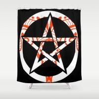 pentagram Shower Curtains featuring Pentagram by Littlefox
