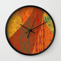 banana leaf Wall Clocks featuring Rakhi Banana Leaf with Red by Pistachia