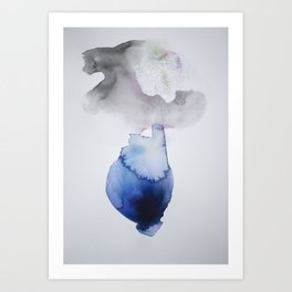 Velvet Blue Watercolor Lotus Art Print