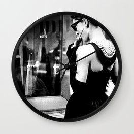 Audrey Hepburn in Black Gown, Jewelry, Vintage Black and White Art Wall Clock