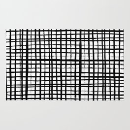 Essie - Grid, Black and White, BW, grid, square, paint, design, art Rug