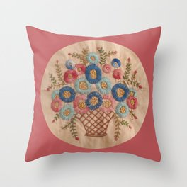 Floral Stitchery Bouquet Throw Pillow