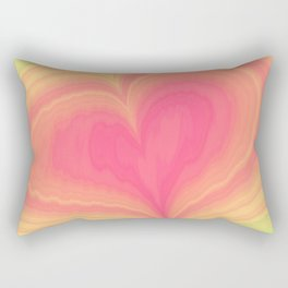 Abstract Tropical Pastel Rainbow Heart Pattern | Valentine's Day Rectangular Pillow