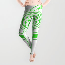 St Patrick's Day Celtic Cross Green and White Leggings