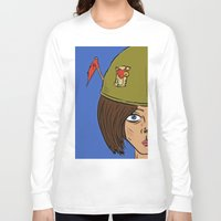 army Long Sleeve T-shirts featuring Army Girl by ConnorEden