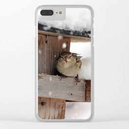 Bird Snacking Clear iPhone Case
