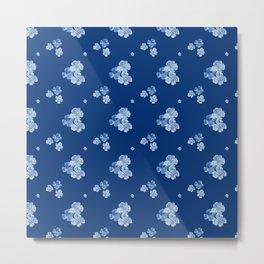 Little Blue Flowers (dark blue background) Metal Print
