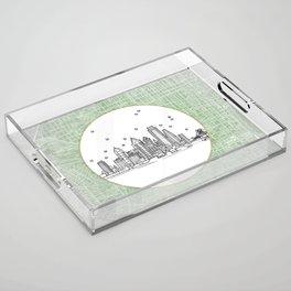 Philadelphia, Pennsylvania City Skyline Illustration Drawing Acrylic Tray