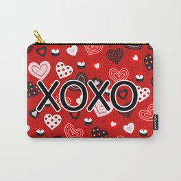 XOXO Valentine Pattern With Hearts Carry-All Pouch