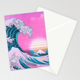 Vaporwave Aesthetic Great Wave Off Kanagawa Stationery Cards
