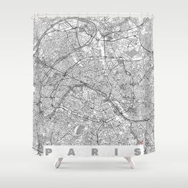 Paris Map Line Shower Curtain