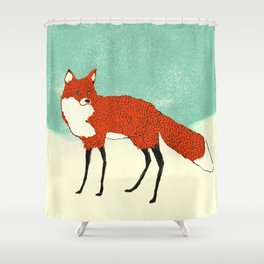 Fox in the snow, Kitsune, Vintage inspired illustration Shower Curtain