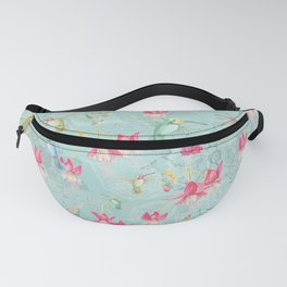 Vintage Watercolor hummingbird and Fuchsia Flowers on mint Background Fanny Pack