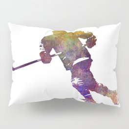 Skater with stick in watercolor Pillow Sham