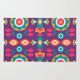 Colorful Bohemian Suzani Inspired Pattern Rug