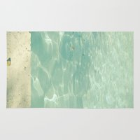 swim Area & Throw Rugs featuring Morning Swim by Cassia Beck
