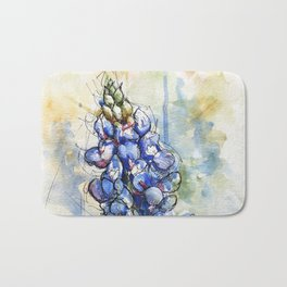 Spring Watercolor Texas Bluebonnet Flowers Bath Mat