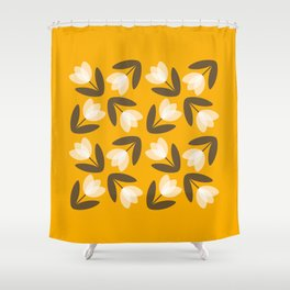 Scattered Tulips in Mustard Yellow Shower Curtain
