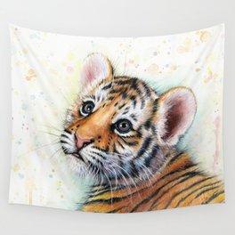 Nursery-Artwork-Tiger-Cub-Baby-Animal-Watercolor-Jungle-Safari-Animals Wall Tapestry