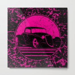 Retro Hot Pink Hot Rod Grungy Sunset Illustration Metal Print