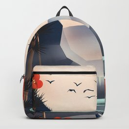 Cartoon landscape in the evening. Backpack