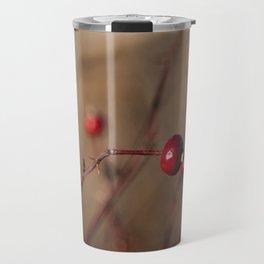 Burgundy Red Rose Hips on Brown and Blue Travel Mug