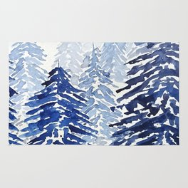 A snowy pine forest Rug