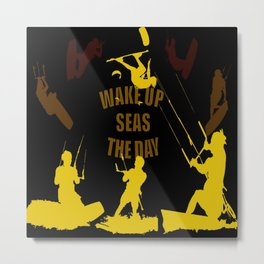 Wake Up Seas The Day Kiteboarder Brown and Yellow Metal Print