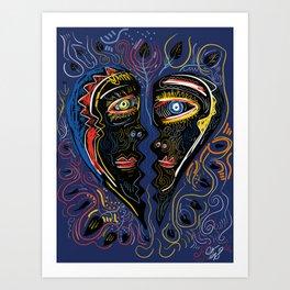 Love is Communication Street Art Graffiti Primitive Art Art Print