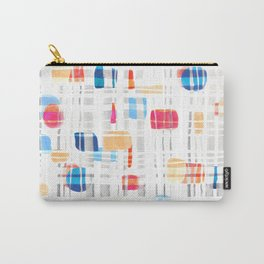 Colorful Abstract Gouache Shapes & Plaid Carry-All Pouch