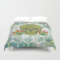 sugar skull Duvet Covers featuring Sugar Skull by Brit Derr