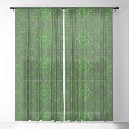 Butterfly Forest Bohemian Arabesque Pattern Emerald Sheer Curtain