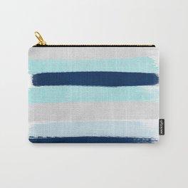 Stripes minimal painted stripe pattern blue indigo grey nautical nursery decor Carry-All Pouch